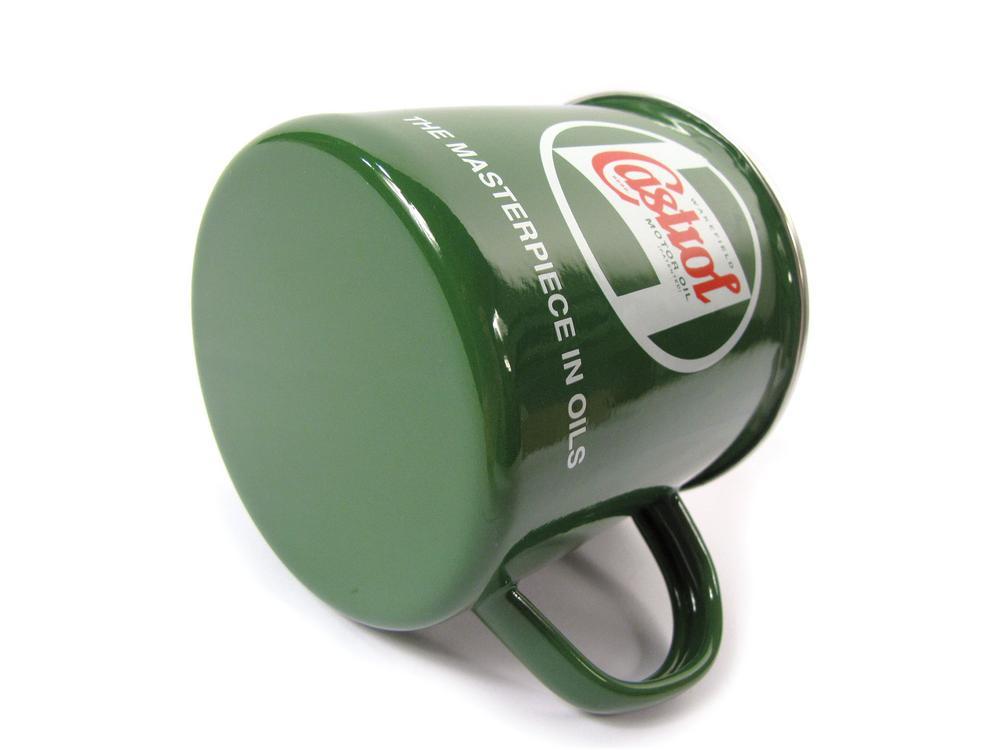 Classic Castrol Tin And Enamel Mug, Green With Wakefield Castrol Period Logo