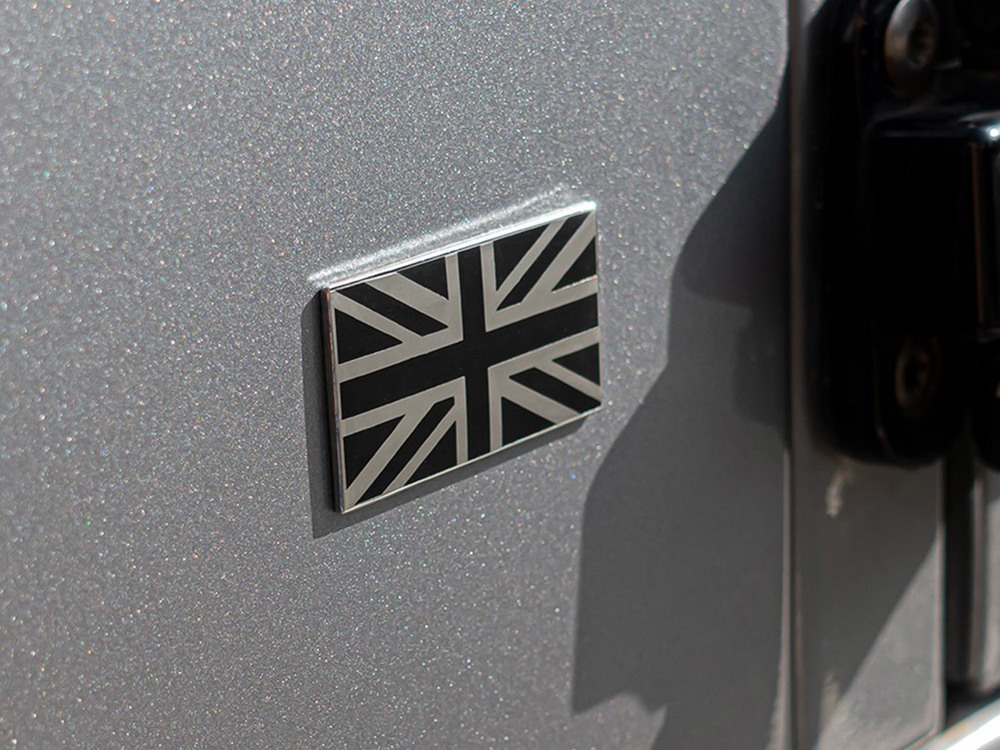 Union Jack Exterior Badge, Black & Chrome, 2 X 1.14 Inches