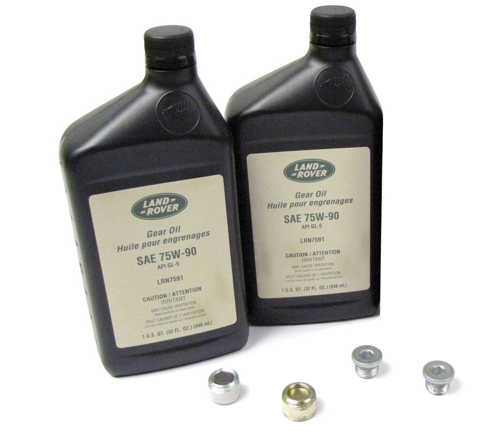 Differential Service Kit, Front And Rear, Includes 2 Quarts Genuine Differential Oil 75W90R GL5 Fluid And Replacement Drain And Fill Plugs, For Range Rover Full Size L322, 2007 - 2009