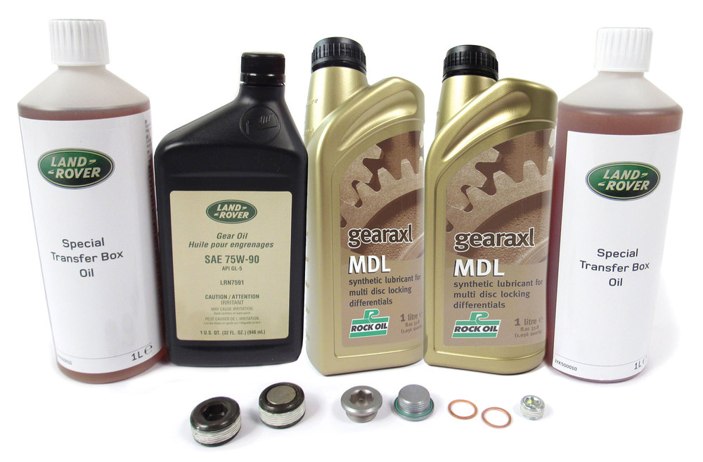 Differential And Transfer Case Service Kit For Range Rover Sport With Electronic Rear Differential, 2006 - 2009, Includes All Fluid Needed And Replacement Drain And Fill Plugs