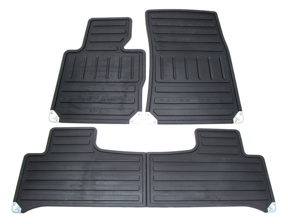 Genuine Rubber Floor Mat Set, 4-Piece In Black EAH500330PMA, For Range Rover Full Size L322, 2007 - 2010 (See Fitment Notes)