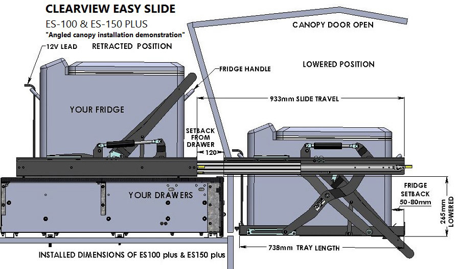 Clearview Easy Slide, Portable Refrigerator Vehicle Lowering Slide Es-150PLUS, 29L X 18W Inches