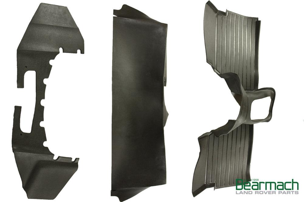 Acoustic Molded Matting System Floor Mat Set, Black 3-Piece By Exmoor Trim For Defender (LT77 Transmission)