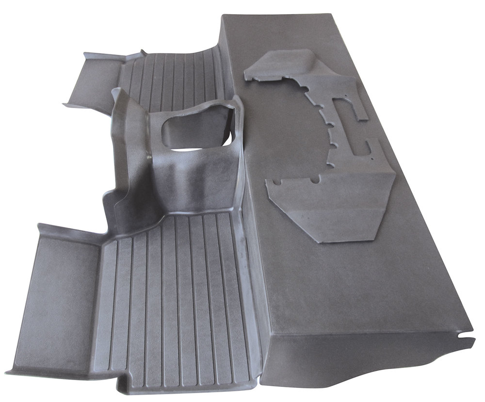 Molded Matting System Floor Mat Set, Black 3-Piece By Exmoor Trim For Land Rover Defender 90 And 110 (R380 Transmission)