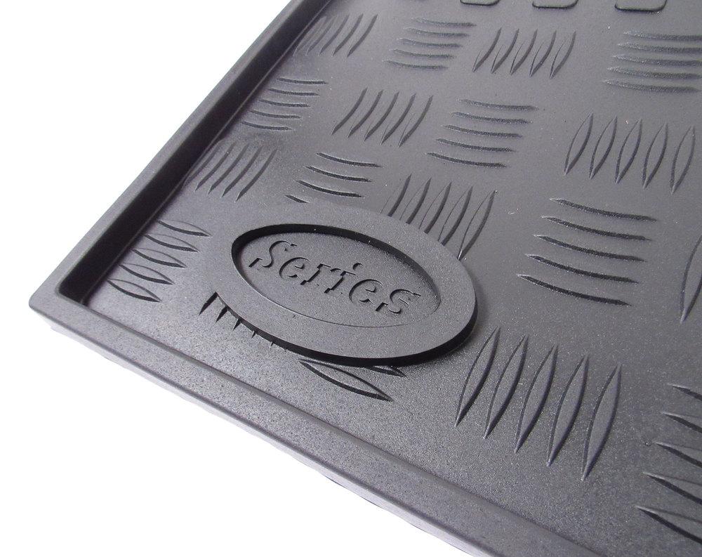 Rubber Floor Mat Set: Front Pair, Black By Exmoor Trim For Land Rover Series II, IIA & III