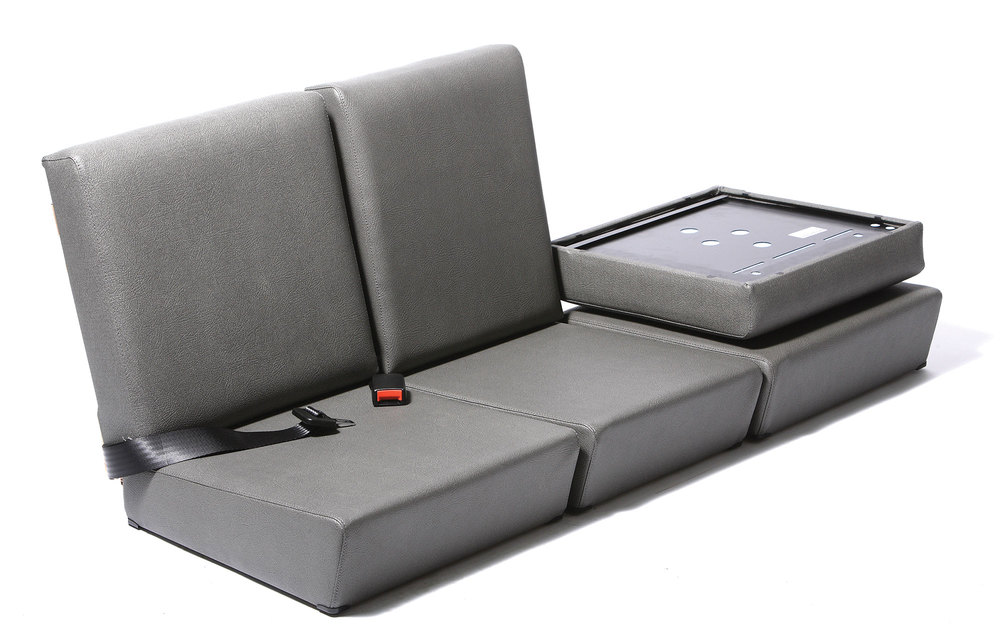 Standard Front Seat Set: Elephant Hide Grey Vinyl By Exmoor Trim (3 Tops / 3 Bottoms) For Land Rover Series