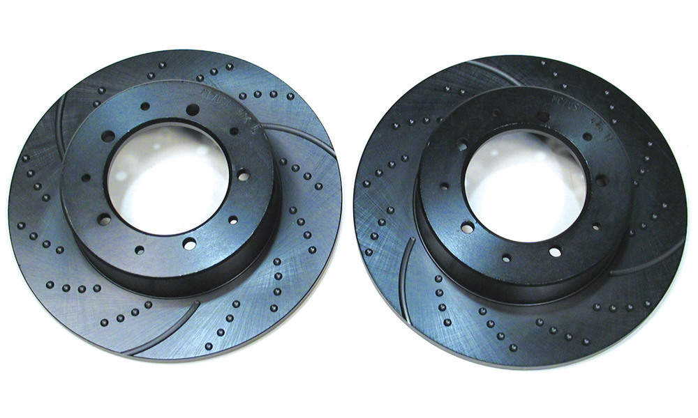 3GD Series Sport Performance Brake Rotors FTC1381, Rear Pair By EBC, Dimpled And Slotted, For Land Rover Discovery I, Defender 90, And Range Rover Classic (See Fitment Years)