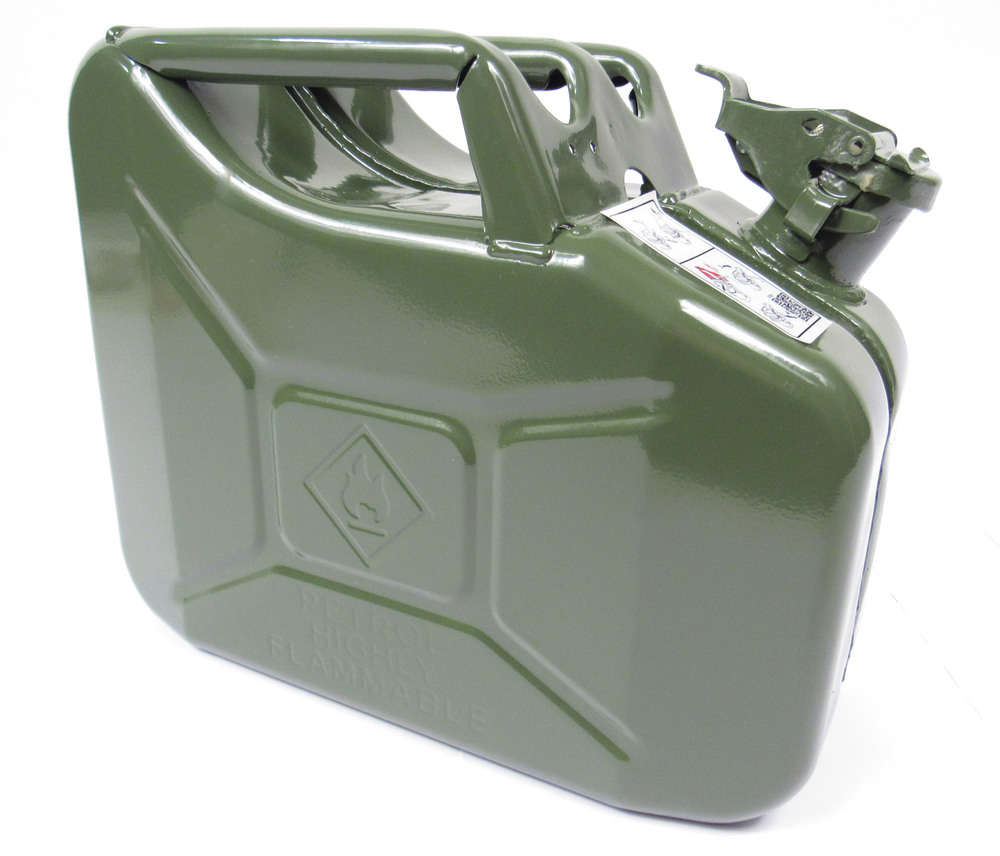 NATO Jerry Can 10 Liter / 2.6 Gallon Metal, Olive Drab Green, Built To European Military Spec By VALPRO