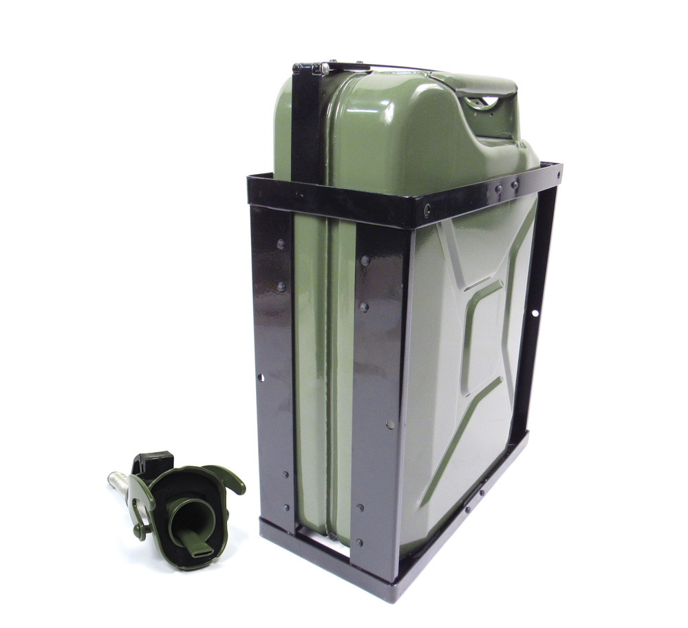 NATO Jerry Can 20 Liter / 5 Gallon Metal With Long Nose Flexible Nozzle / Spout And Can Holder, Olive Drab Green Built To European Military Spec By VALPRO