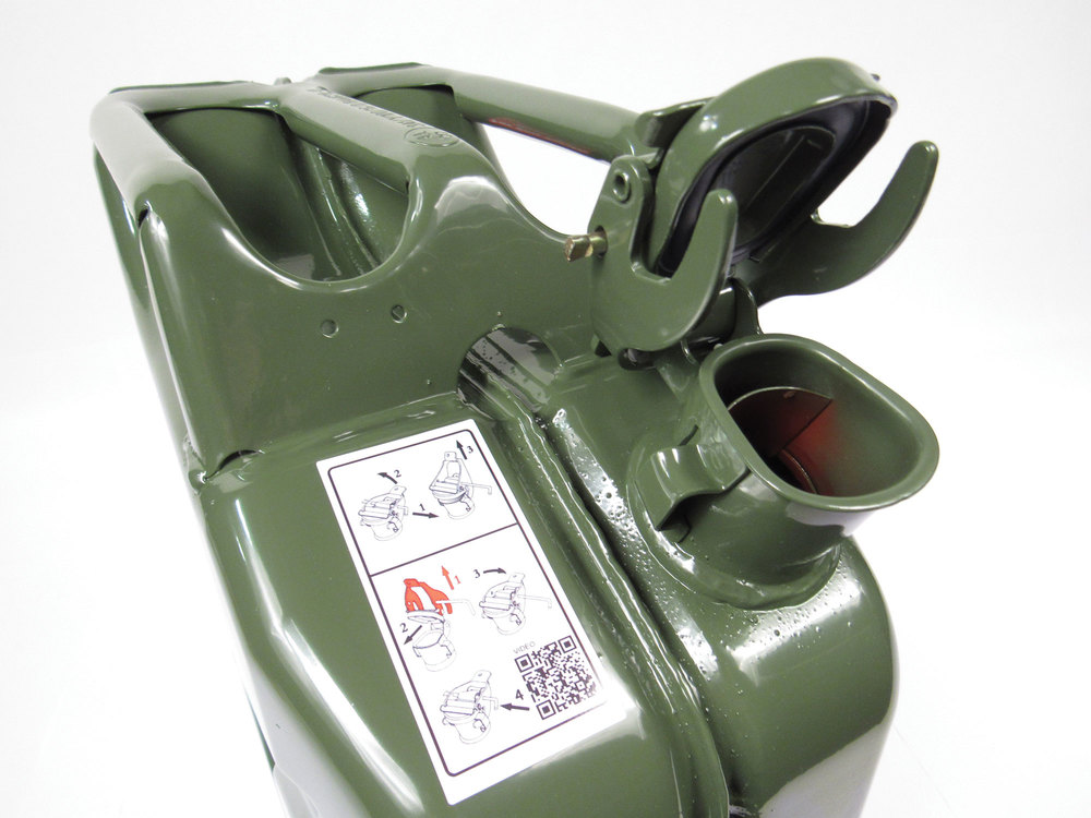 NATO Jerry Can 20 Liter / 5 Gallon Metal With Flexible Nozzle / Spout, Olive Drab Green, Built To European Military Spec By VALPRO