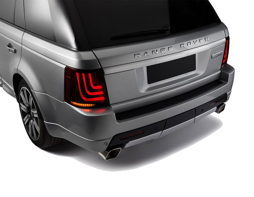 Glohh Gl-3 LED Tail Lights, Black / Red Rear Pair, Dynamic Sequential Fiber Optic Lamps, For Range Rover Sport, 2006 - 2013