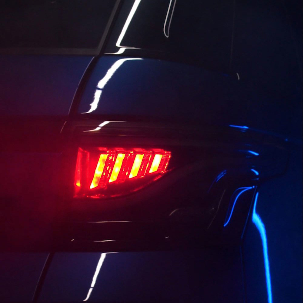 Glohh Gl-5X LED Tail Lights, High-Gloss Black Rear Pair, Dynamic Sequential Fiber Optic Lamps, For Range Rover Sport, 2014 - On