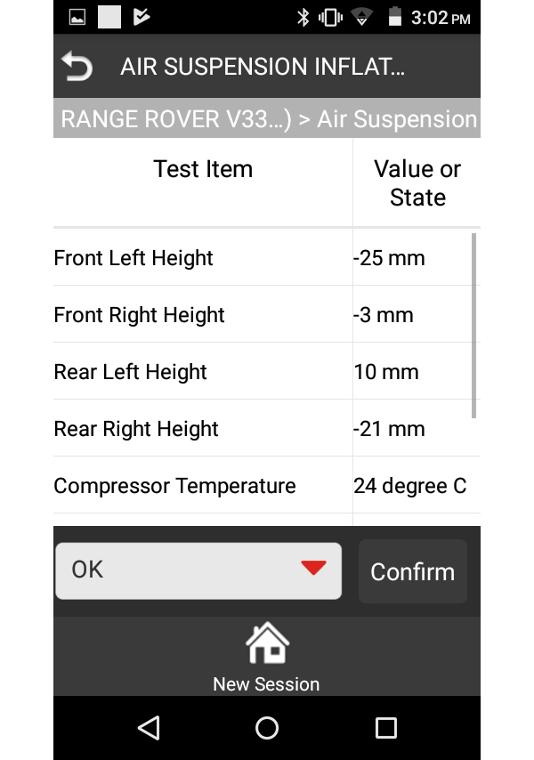 iLAND EAS Air Suspension Live Data Example