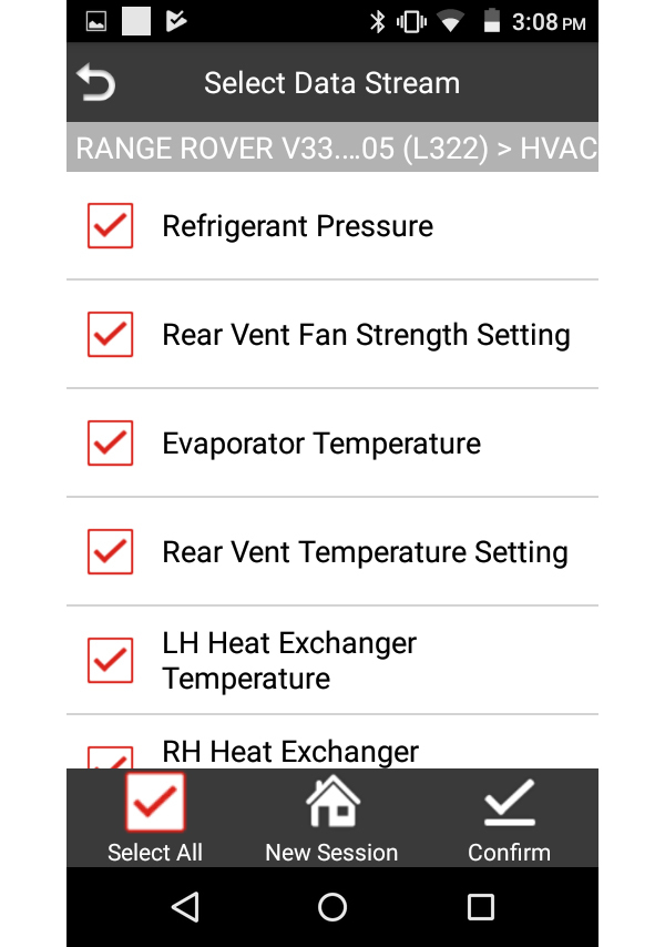 iLAND HVAC System Live Data Selection Example