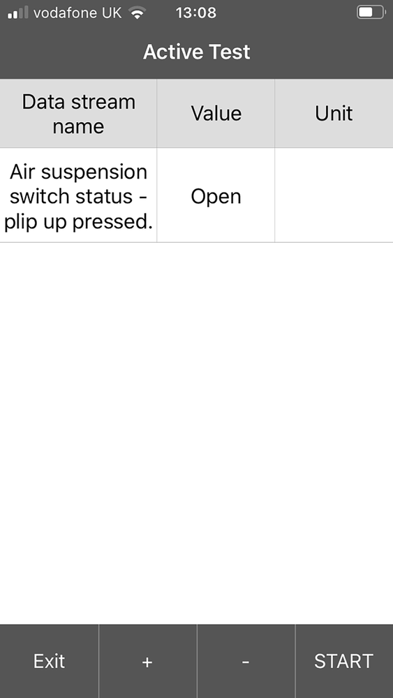 iLAND Air Suspension Active Test Screen