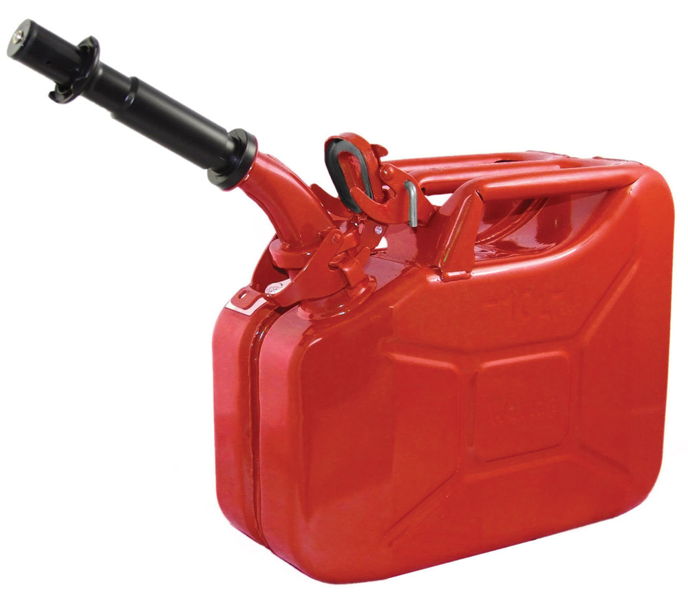 NATO Style Jerry Can (CARB-Approved / EPA-Approved) 10 Liter / 2.6 Gallon Metal, Red Color, Built To European Military Spec By Wavian