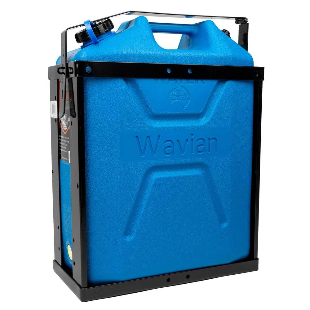 Water jerry can shown in jerry can holder
