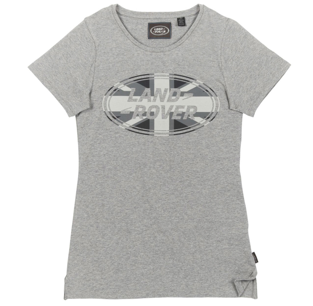 T-Shirt: Women's Land Rover Logo Oval With Jack, Gray