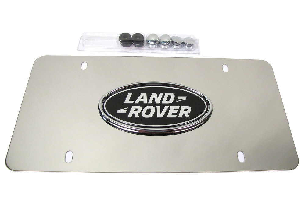 Genuine License Plate, Land Rover Logo On Polished Silver Background