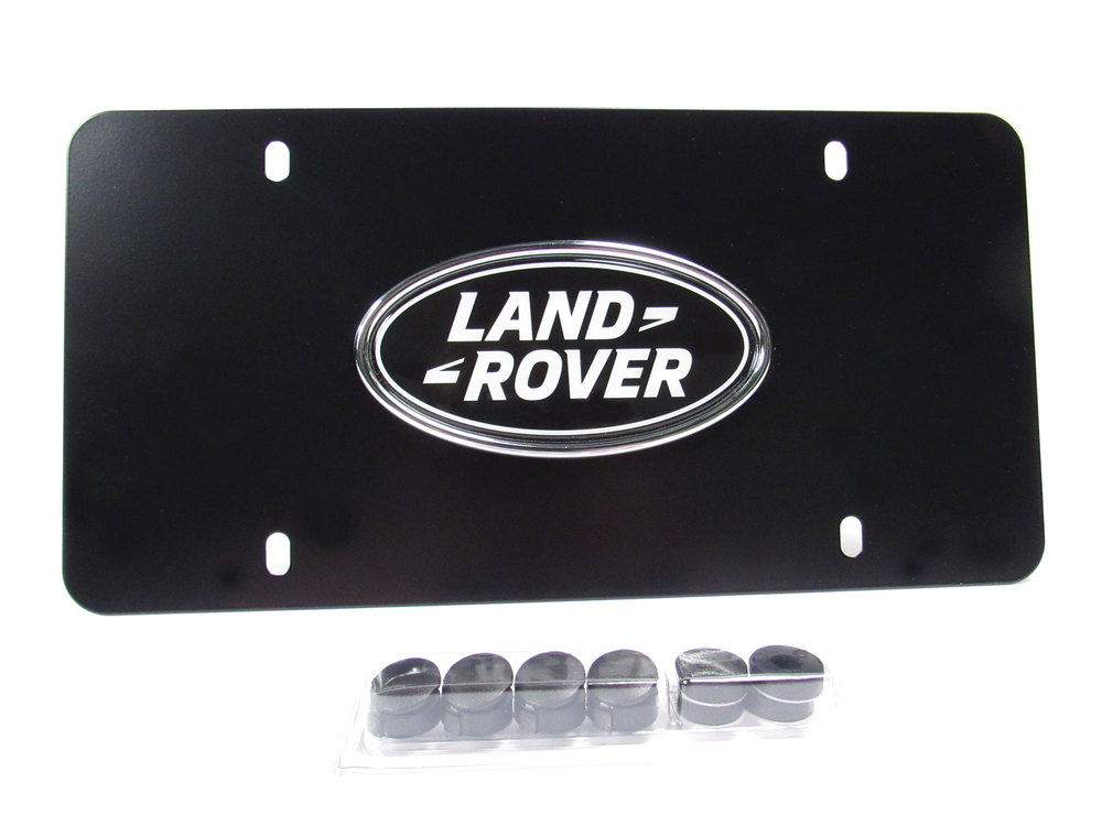 Genuine License Plate With Land Rover Logo On Matte Black Background With Mounting Hardware