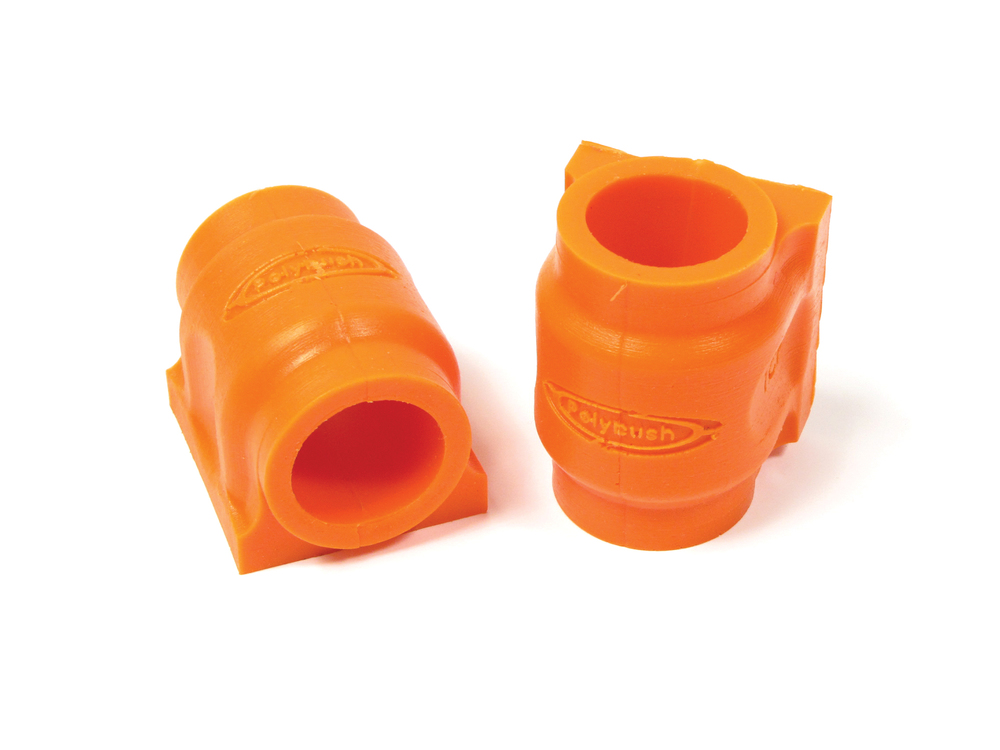 Polyurethane Suspension Bushing Set By Polybush LR018347, Pair For Front Of Sway Bar, Orange / Standard Firmness, For Range Rover Sport Without Stability Control Or ACE