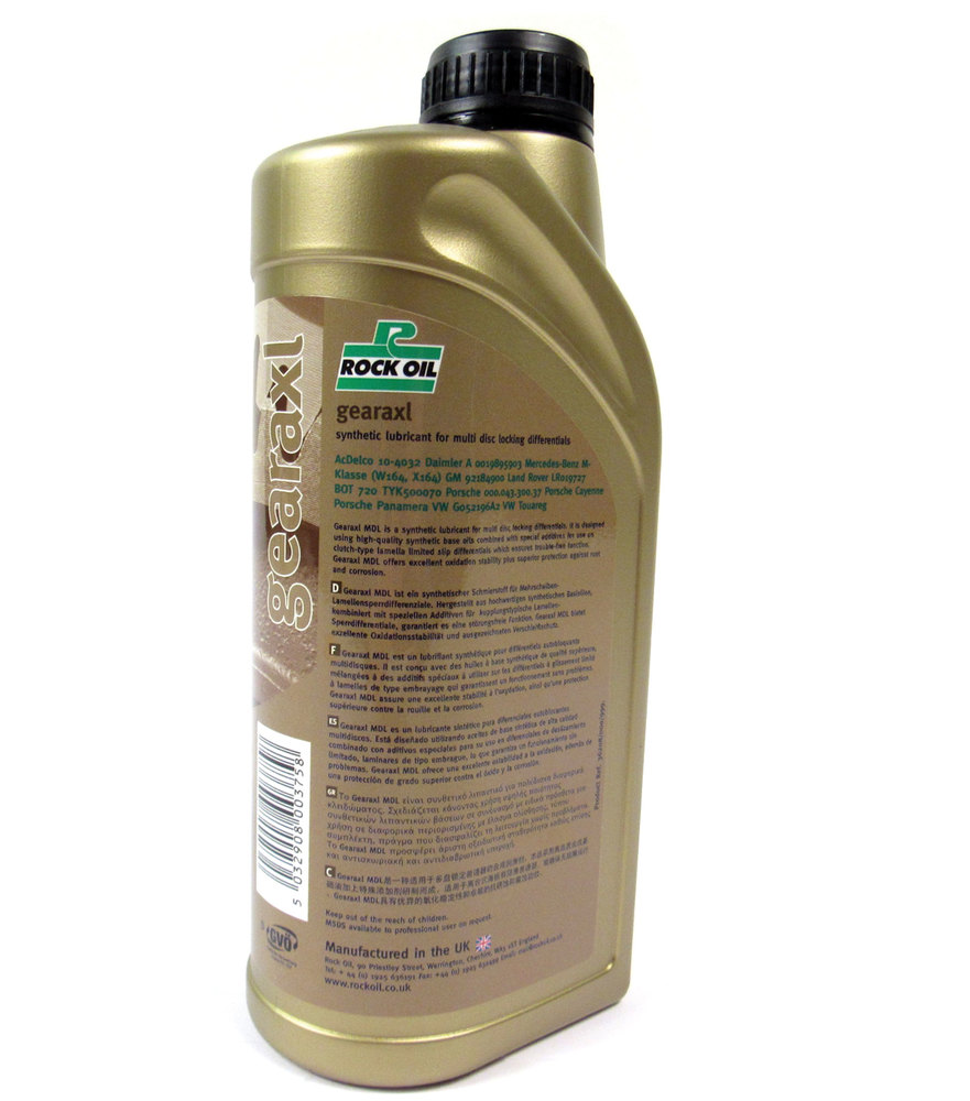 Synthetic Differential Fluid For Rear Electronic Locking Differentials, Gearaxl MDL By Rock Oil, 1 Quart / Liter, For Land Rover LR3, Discovery 5, Range Rover Sport And Range Rover Full Size