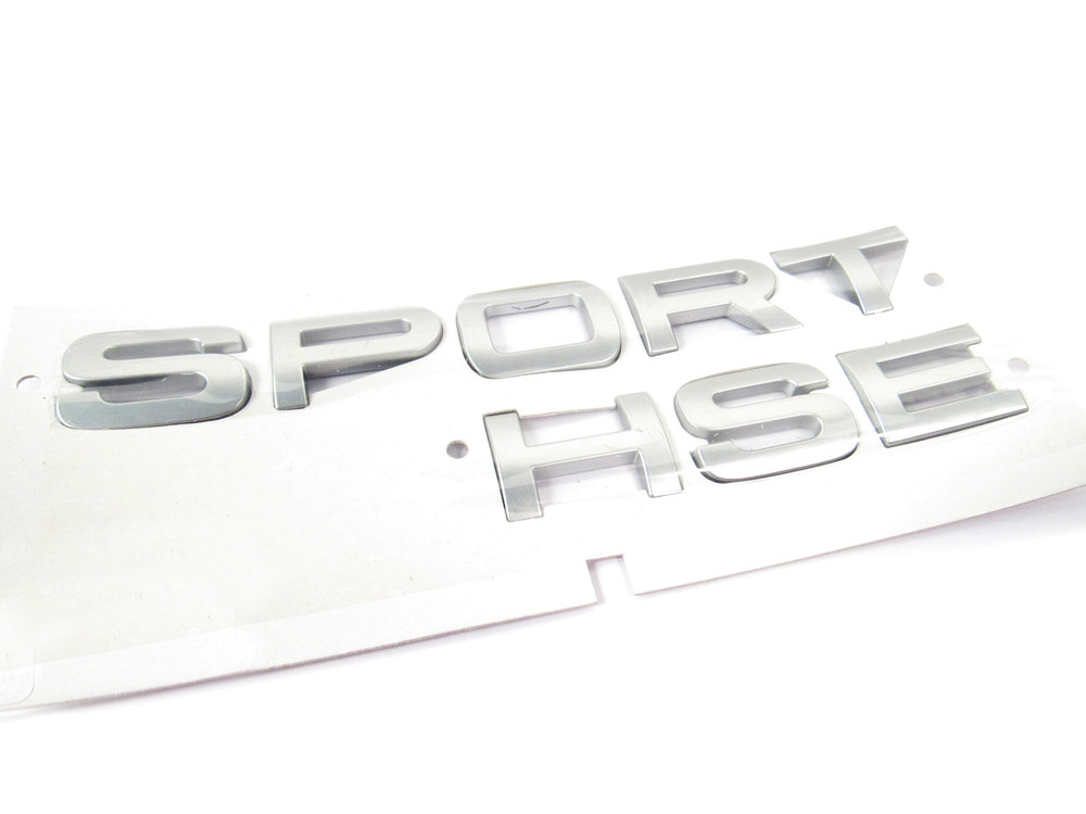 Sport Hse' Text Replacement Badge For Rear Of Vehicle, Titan Silver, Original Equipment LR020467, On Range Rover Sport HSE, 2006 - 2013