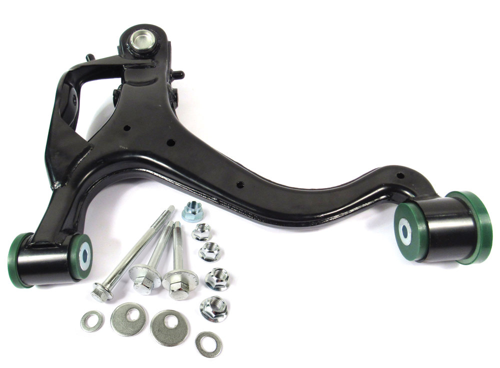 Lower Front Control Arm, Right Hand, Upgraded With Preloaded Semi-Firm Green Polyurethane Bushings And Bolt Kit For Range Rover Sport (2010-2013)