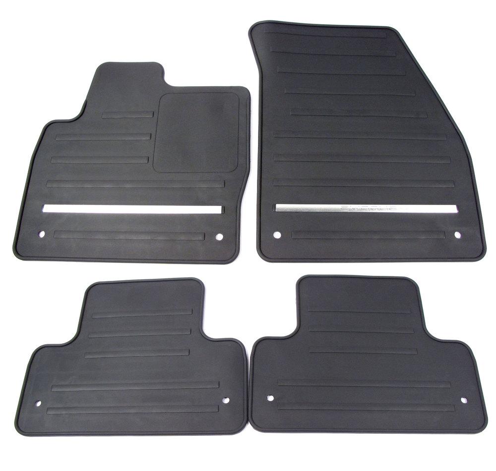 Rubber Floor Mats: 4-Piece Set, Front & Rear Black