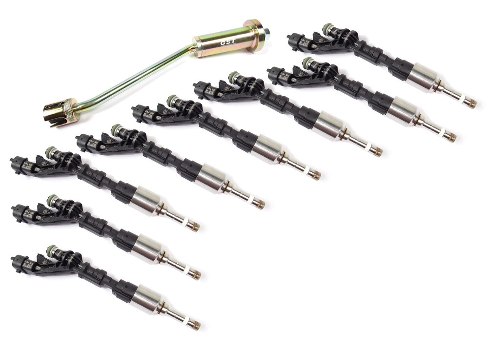 Fuel Injector Kit, Set Of 8 Original Equipment LR079542 BOSCH Injectors With Injector Removal Tool, For Land Rover LR4, Range Rover Full Size And Range Rover Sport 5.0L (See Fitment Years)