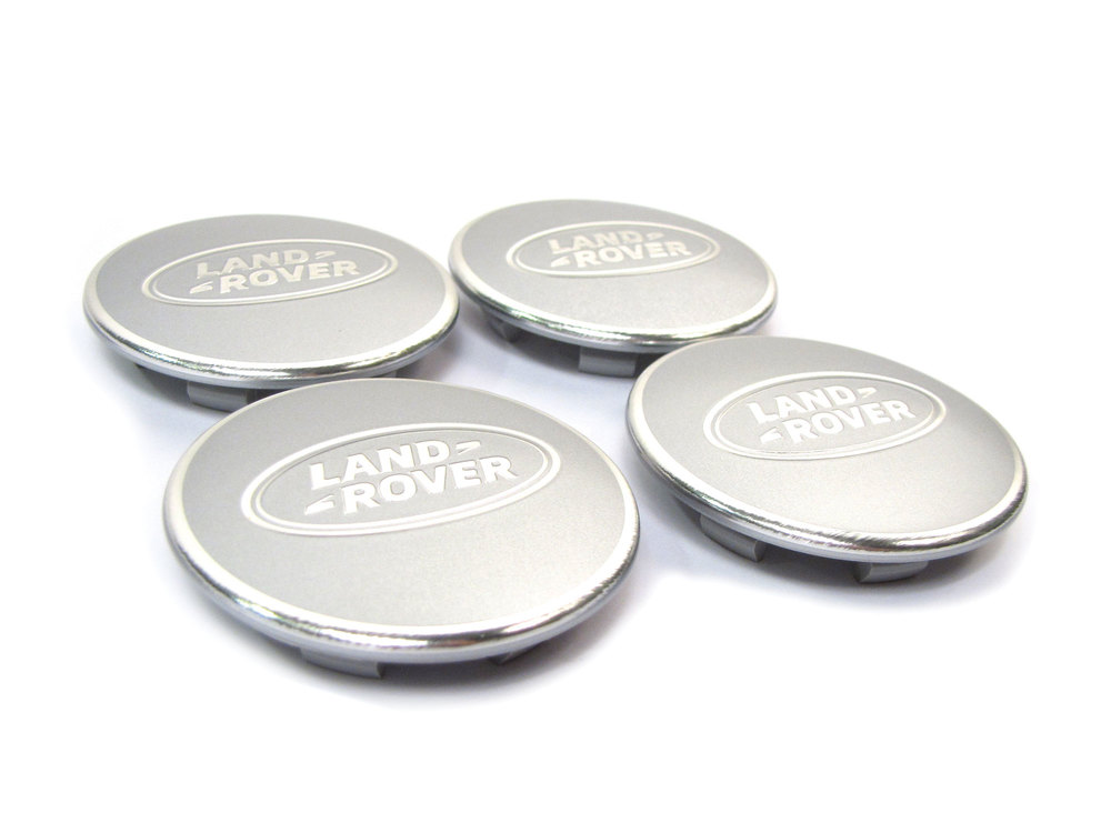 Genuine Wheel Center Caps, Satin Silver / Bright Aluminium With Land Rover Logo, Set Of 4 , For Land Rover Discovery Series II, LR3, Freelander, Range Rover P38 And Range Rover Full Size L322