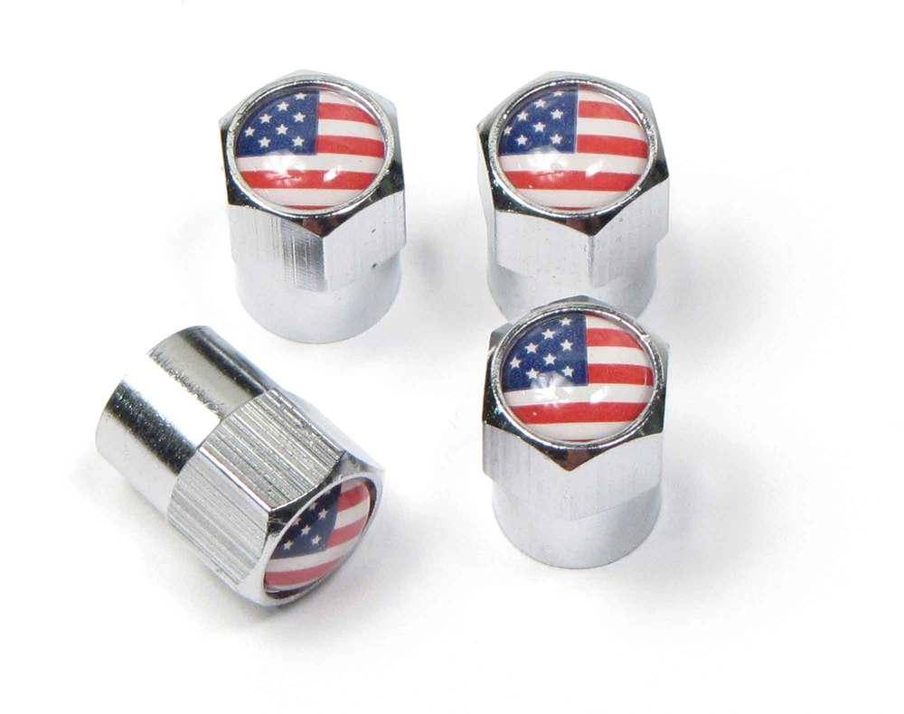 Tire Valve Caps - USA Flag - Set Of 4