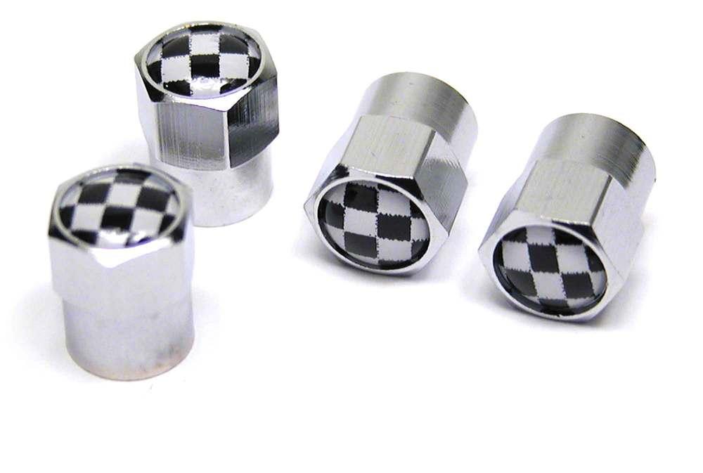 Tire Valve Caps - Checkered - Set Of 4