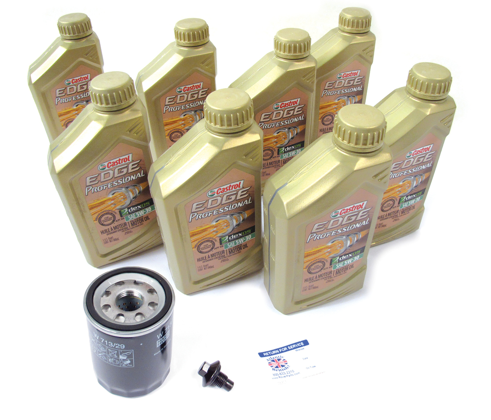 Complete Oil Change Kit, Includes Oil Filter By MANN LR031439, 8 Quarts Castrol Edge Professional 5W/30 Oil, Drain Plug With Seal And Reminder Sticker For LR3, Range Rover Sport And Range Rover Full Size