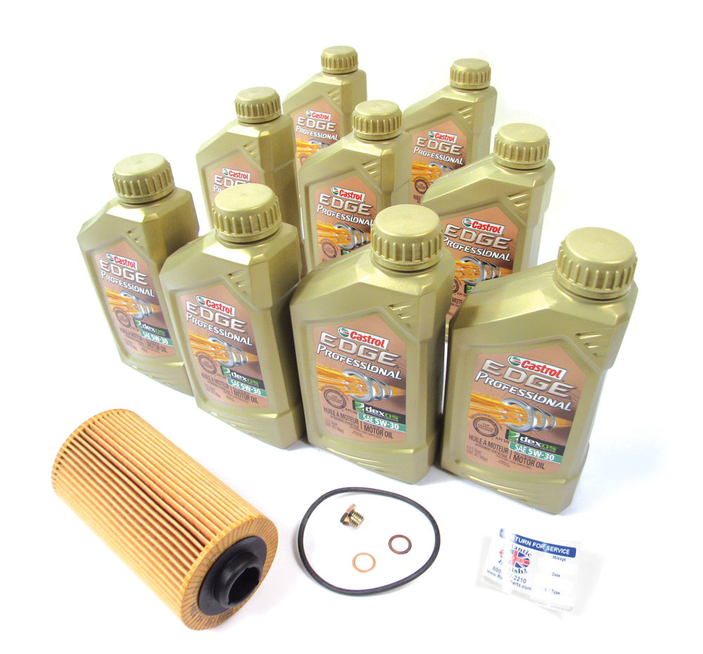 Complete Oil Change Kit For Range Rover L322, Includes Oil Filter Cartridge By MANN, 9 Quarts Castrol Edge Professional 5W/30 Oil, Replacement Fill Plug With Washer & Reminder Sticker