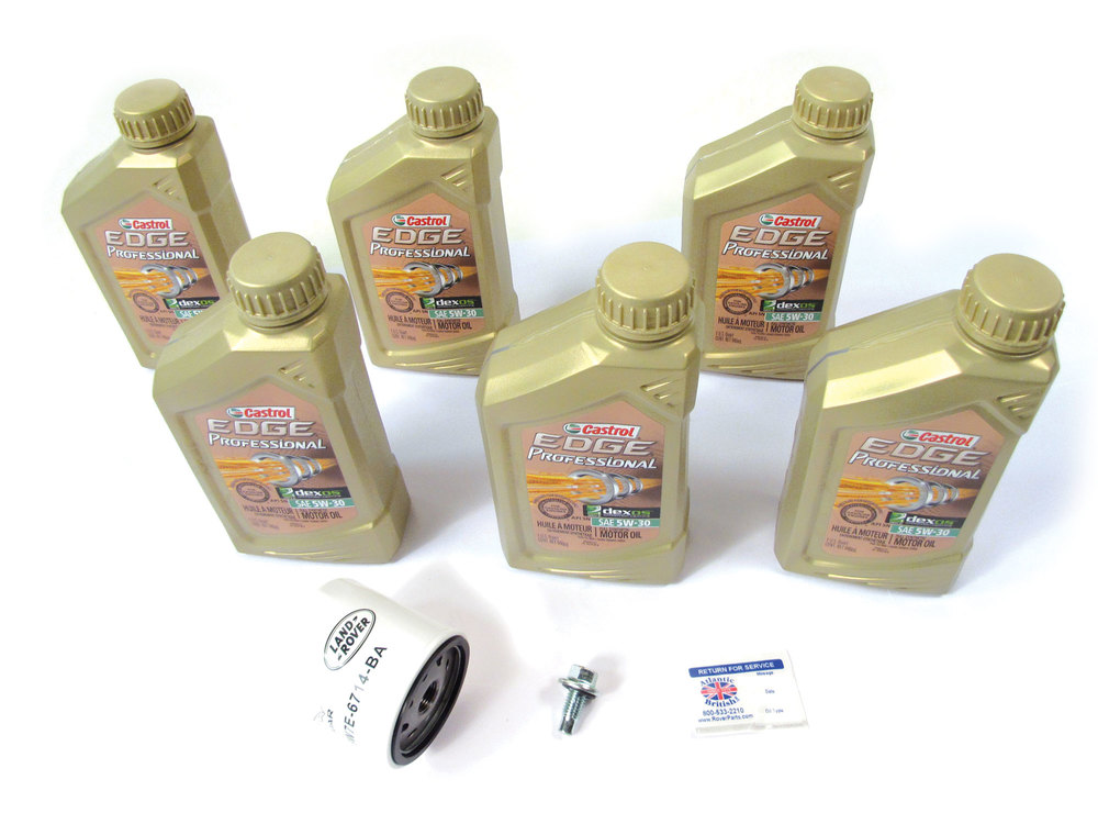 Complete Oil Change Kit For Land Rover Discovery Sport, Range Rover Evoque, And LR2, Includes Land Rover Genuine Oil Filter, 6 Quarts Castrol Edge Professional 5W/30 Oil And Reminder Sticker