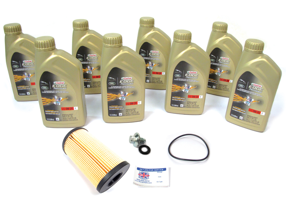 Complete Oil Change Kit For Range Rover Velar Turbocharged (Petrol), Range Rover Evoque, And Discovery Sport, Includes Cartridge Oil Filter LR073669 By CoopersFIAAM, 8 Quarts Castrol Edge Professional OE 0W-20 Oil And Reminder Sticker