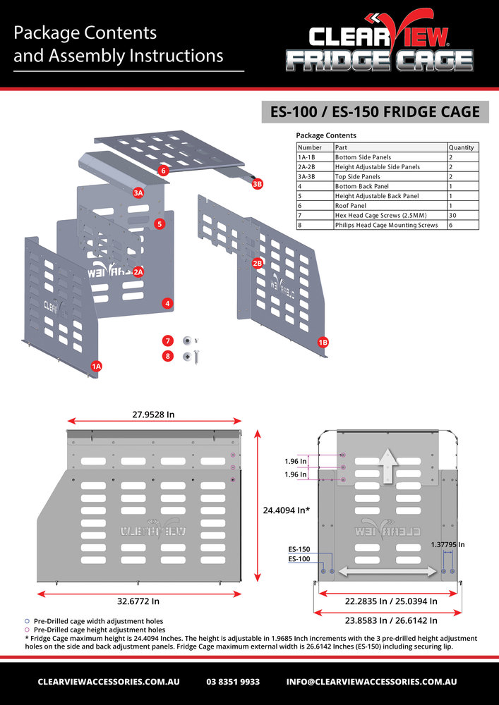 Clearview Aluminum Fridge Cage For Es-100 And Es-150 Easy Slides
