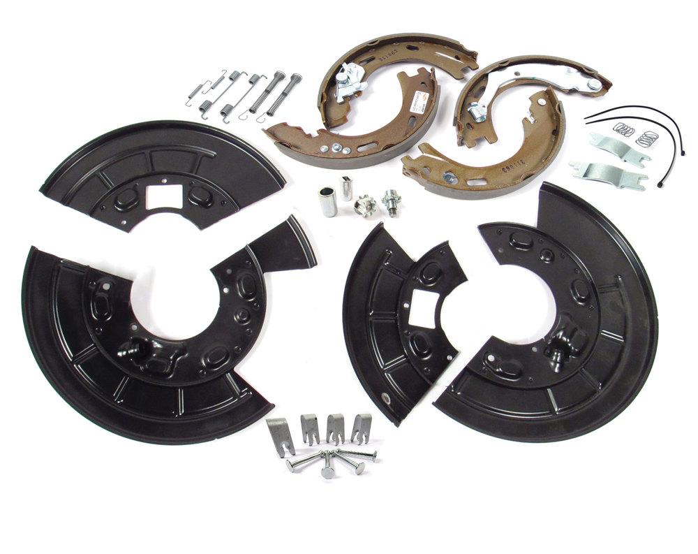 Parking Brake Rebuild Kit, Includes Split Rear Brake Backing Plates, For Land Rover LR3, LR4 And Range Rover Sport
