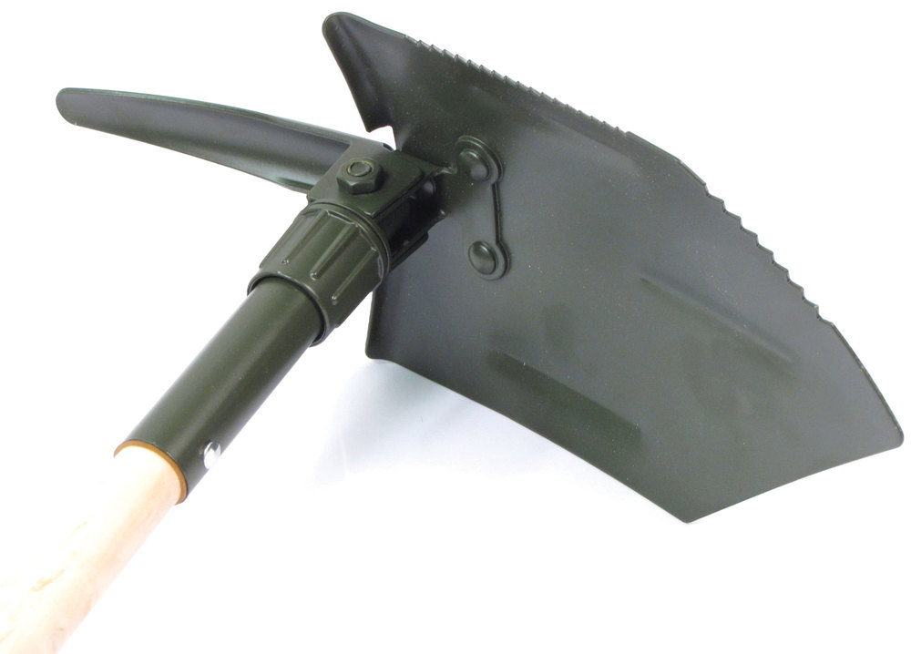 German Reproduction Folding Travel Shovel With Pick (New)