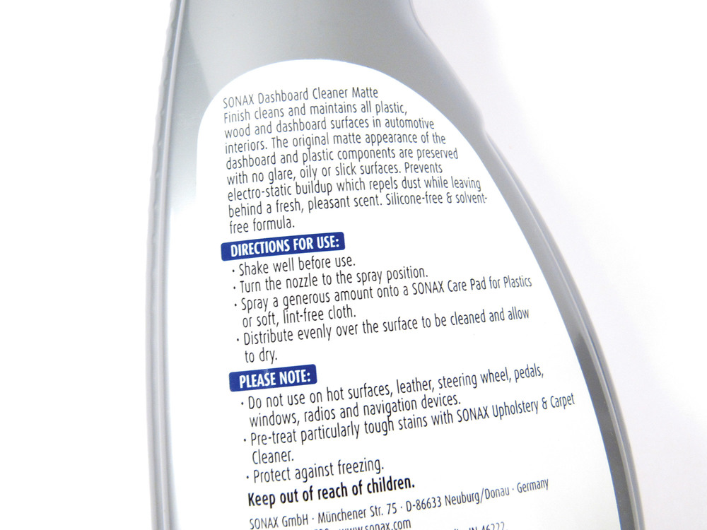 Dashboard Cleaner: 16.9 Oz Bottle By SONAX