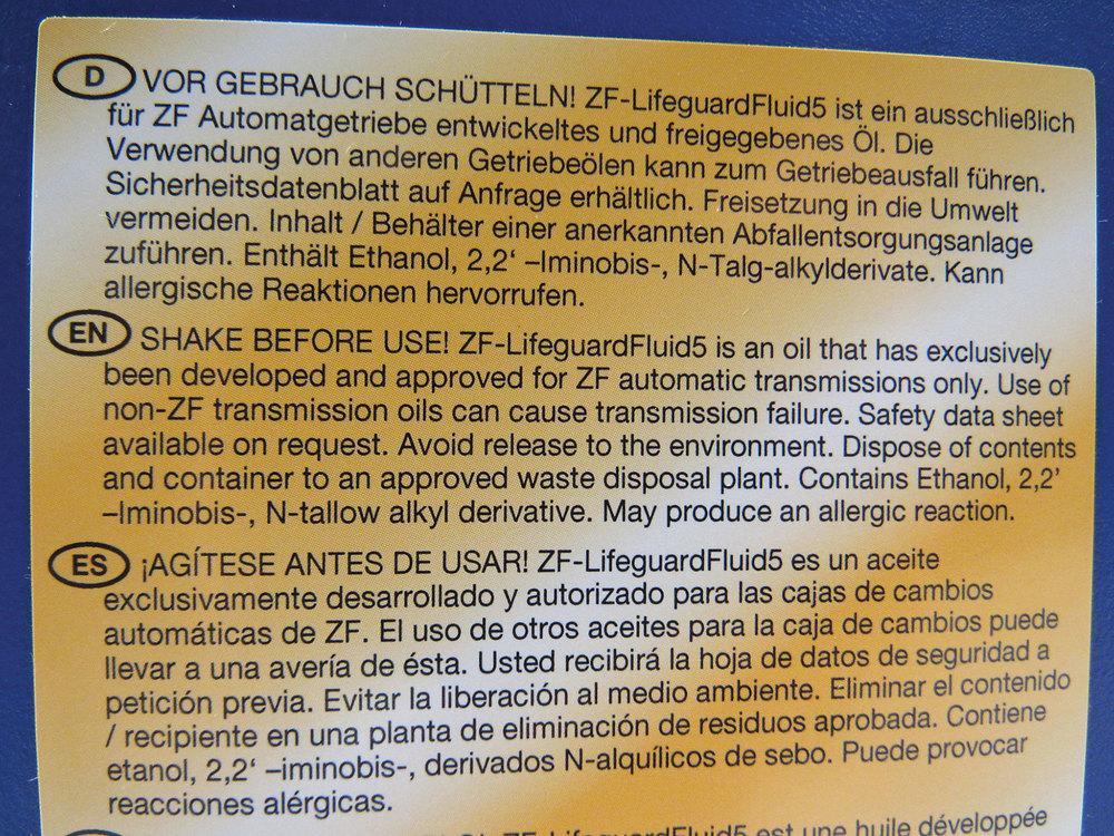 ZF Lifeguard 5 Transmission Fluid, 1 Liter, For Range Rover Full Size L322, 2003 - 2005