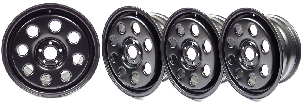 4 black Terrafirma steel wheels