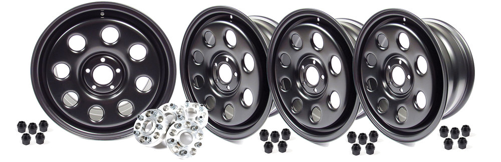 Steel Wheels By Terrafirma, Set Of 4, Satin Black 18 X 8 Inch, Wheel Spacers And Lug Nuts Included, For Land Rover LR4