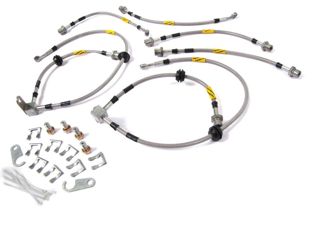 Stainless Steel Brake Hose Kit By Terrafirma Goodridge, 6-Hose Set With Hardware, For Land Rover LR3 With 2-Inch Lift