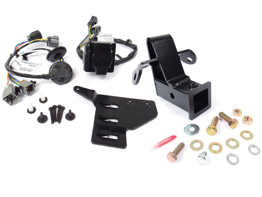 Tow Hitch And Trailer Wiring Package, Includes 2-Inch Class 3 Bolt-On Tow Hitch And Trailer Wiring Kit With Flat-4 And 7-Way Connectors, For Land Rover LR4 V6 3.0L, 2014 - 2016