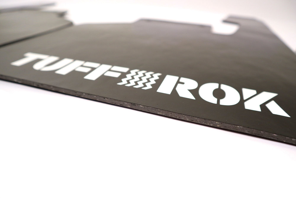 Tuff-Rok Front And Rear Mud Flap Kit, Black With White Logo, For Land Rover Discovery Series II