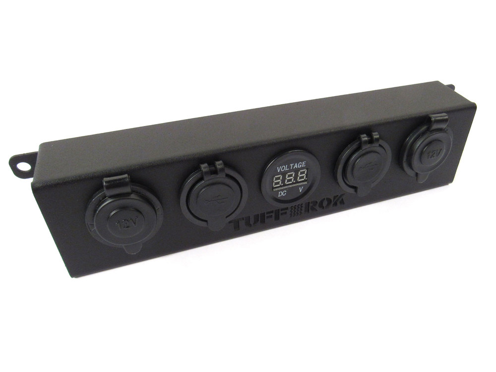 Tuff-Rok Front Dashboard Power Panel For Land Rover LR3, Features USB Ports, 12V Power Ports And Voltage LED Display