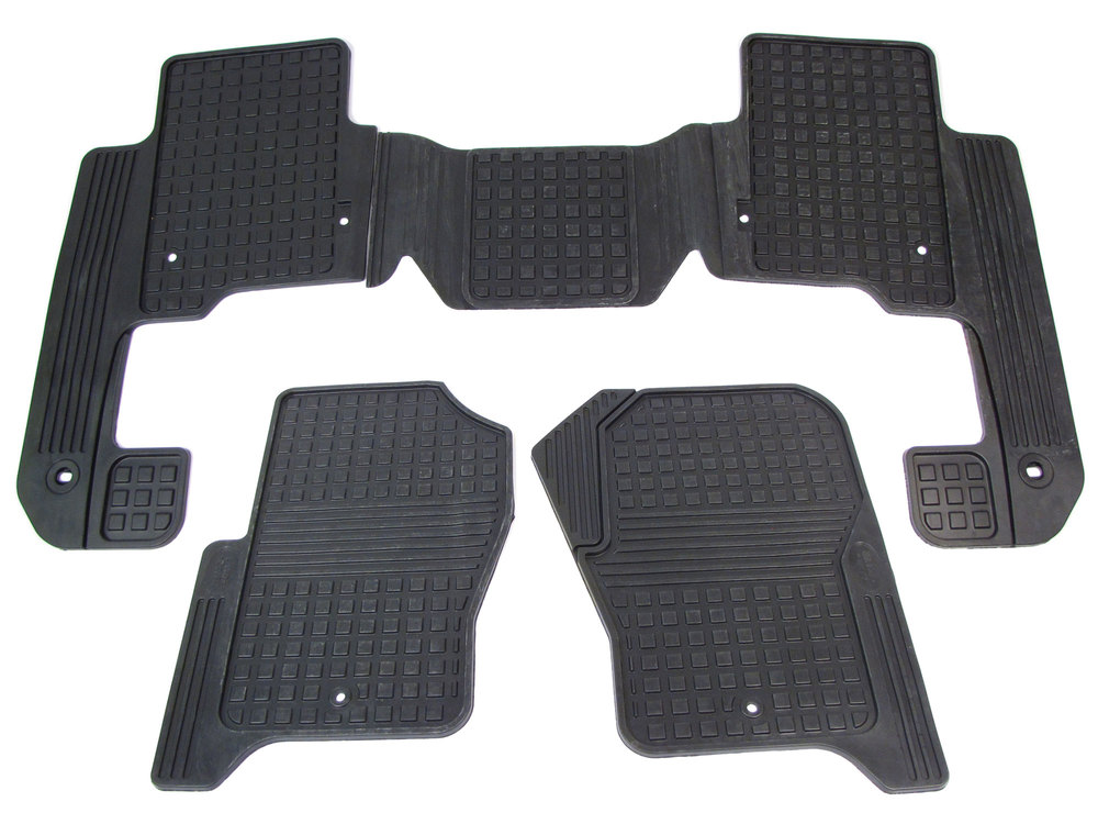 Genuine Rubber Floor Mats VPLAS0253, Black, First And Second Row Set, For Land Rover LR4
