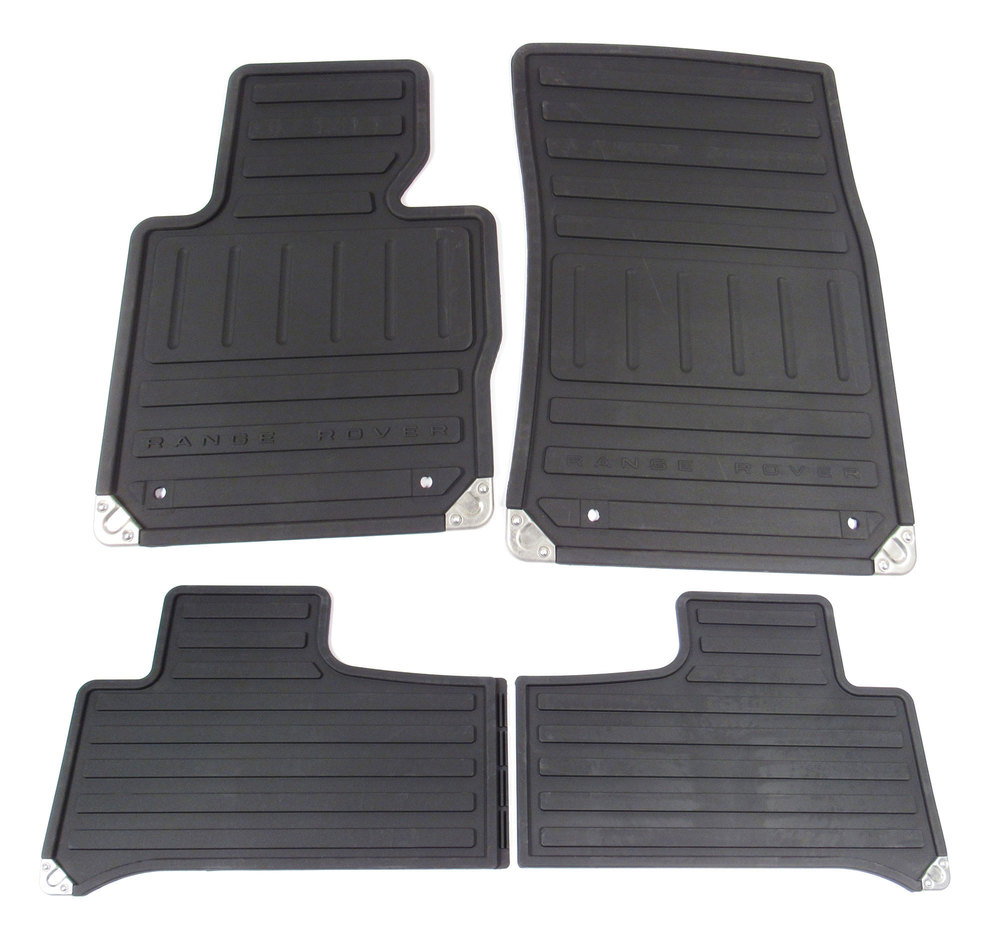 Genuine Floor Mat Set VPLMS0084, Front And Rear, 4-Piece Set, Black Rubber, For Range Rover Full Size L322, 2011 - 2012